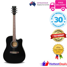 Electric Acoustic Guitar Full Size Black Cutaway Music Musician Rock Country New