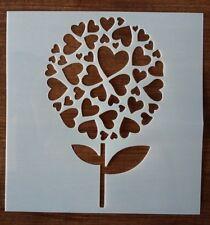 LOVE HEART FLOWER STENCIL 130mm x 130mm