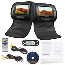 "Black 2x 7"" Digital Screen Car Headrest Monitor w/DVD Player Pillow Audio Video"