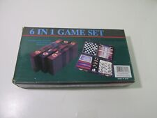 6 in 1 Game Set Chess Checkers Backgammon Cribbage Dominoes Playing Cards gm1153