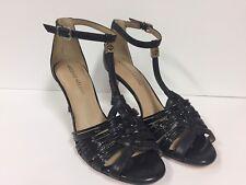 ANTONIO MELANI sz 7.5 Black T-Strap Open Toe Heels Strappy (RK724)