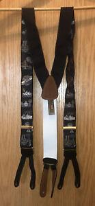TRAFALGAR Limited Edition Millennium Y2K 2000 Silk/Leather Suspenders Braces vtg