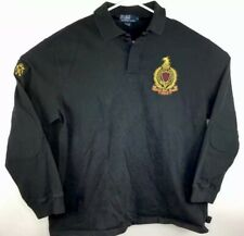 Polo Ralph Lauren Rugby Mens Shirt XL Custom Black PRLC Gold Lettering Crest