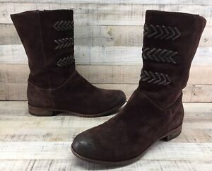 UGG Australia 3182 Cailyn Distressed Brown Suede Mid-Calf Boots Women's sz 9.5