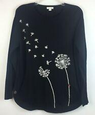 J Jill Sweater Top Dandelion Medium Floral Knit Ladybug Cotton Black White EUC