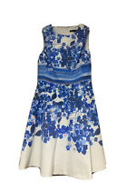 KAREN MILLEN WHITE COTTON FIT & FLARE DRESS WITH BLUE FLORAL PRINT SIZE 10