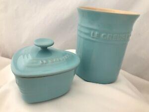 Le Creuset Blue Stonewear Utensil Jar and Lidded Heart Shaped Dish