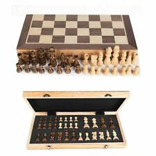 Large Chess Wooden Set Folding Chessboard Magnetic Pieces Wood Board UK New