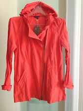 EILEEN FISHER ~ RED LORY Hooded Long Rumpled Cotton Jacket Sz S Retail $338 NWT