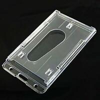 Clear Hard Plastic Work Card Certificates Badge Holder ID Card Case Double Side