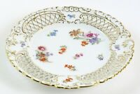 Reticulated Gold Trim Dresden Plate, Ornate Floral w/ Germany Shield and Crown