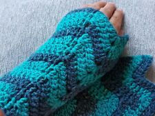 HANDMADE CROCHET LADIES FINGERLESS GLOVES ICE YARN GREEN SHADES