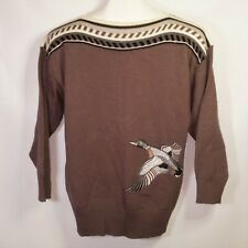 Vtg Micha Knit Sweater Duck Embroidered Patch 3/4 Sleeve Made Denmark Sz 40 M