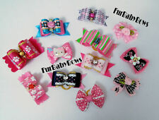 12 CUTE Valentine Pink YORKIE CC Dog Puppy Pet Bows hello Kitty Barrette Maltese