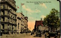Hartford CT Main Street Looking North from City Hall 1900 Vintage Postcard BB1
