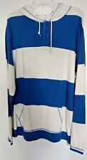 Old Navy 100% cotton blue & ivory  l/s pullover rugby  hoodie Size XL