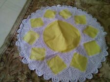 """LINEN LACE CUSHION COVER   24""""WHITE and YELLOW COLORED  HANDMADE"""