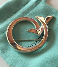 Retired Tiffany&Co Paloma Picasso Circle Arrow Kiss Pin Brooch Silver 925