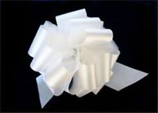 White Satin Pull Bows GIFT WRAP SUPPLIES Christmas Gifts Wedding Wreaths~25 BOW