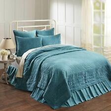 VHC Farmhouse Queen Quilt Bedding Patchwork Pre-Washed Eleanor Teal Green Velvet