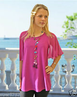 New Purple Chiffon Blouse Top Party Angel Sleeve Scoop Neck Size 8 - 20