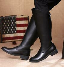 Mens Leather Equestrian Boots Knight Riding Military Boots Knee High Shoes Size