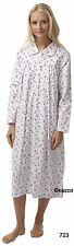 Winceyette Nightdress Warm 100 Cotton Long Ladies Flannelette Nightie 8-26 8-10 Type723 White With Blue Floral
