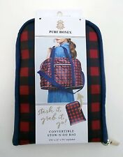 PURE HONEY Convertible STOW-N-GO Bag Duffle Tote Backpack Plaid Red Blue - NEW