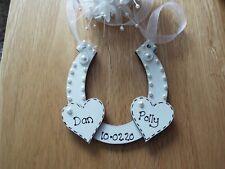 Personalised Wedding day gift HORSESHOE sign plaque  Mr & Mrs Gift keepsake