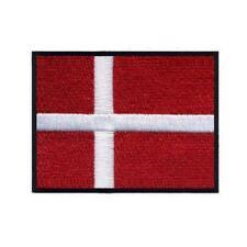 "DENMARK FLAG IRON ON PATCH 3"" Embroidered Applique Danish Scandinavian Pride"