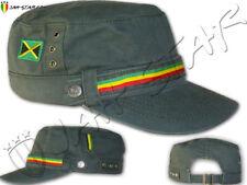 Rasta Reggae Roots Captain Military Cap Hat Jamaica Flag Kaki