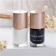 2 Bottles NICOLE DIARY Nail Art Stamping Polish Black White Manicure Polish Kits