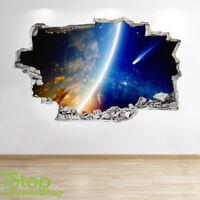 SPACE WALL STICKER 3D LOOK - MOON PLANET GALAXY STARS BOYS BEDROOM  Z220