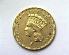 1857-S INDIAN PRINCESS HEAD $3 GOLD NEARLY UNC LOW MINTAGE!! SCARCE THIS NICE!!