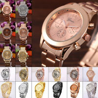 New Fashion Women Gold Crystal Girls Quartz Crystal Rhinestone Wrist Watch