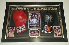 *** nuevo Ricky Hatton v Manny Pacquiao firmado exhibición Guantes De Boxeo ***