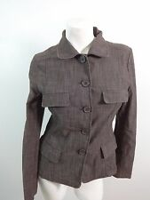 WEEKENDERS JOY WOMENS BROWN COTTON BLEND BUTTON FRONT JACKET SIZE S