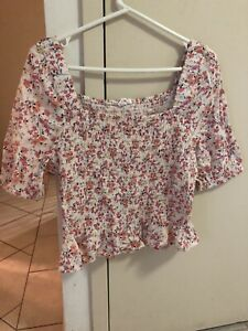 Lily Loves Ruched Puff Sleeve Top Size 16 BNWT