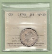1874-H Canadian 25 Cents Silver Coin - ICCS Graded VF-30