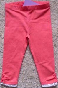 BNWT, Leggings, Lace Trim, Full length, Plain, Coral Pink, Size 1, 12/18 Months