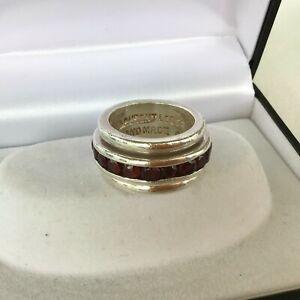Fabulous Designer Laurent LEGER Sterling Silver RING sz O GARNET Spinner 17.5gms