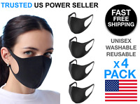 4 Pcs Black Face Mask Stretch Thin Cover Mouth  Washable Reusable Unisex Sealed