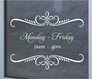 Custom Business Store Hours Sign Vinyl Decal Sticker 16x20  Window Door Glass