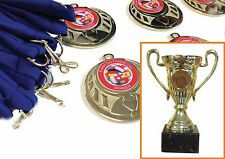 Cup + 15 medals. Soccer School / Birthday Party. Choice of ribbons and centres