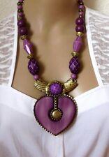 Halsschmuck Kette Halskette Metallkette lila goldfarben Herz Kunststoff Holz