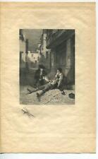 ANTIQUE VICTORIAN SUN SHADOWS MAN WOUNDED SABRE SWORD VILLAGE MYSTERY ART PRINT