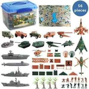 deAO 56 Pieces Military Army Play Set with Map, Toy Soldiers, Military Vehicles