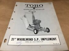 "toro 21"" whirlwind sp implement parts list,IPL ,antique toro tractor 1967"