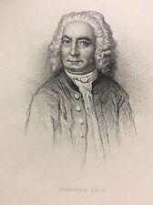 Johann Sébastien Bach (1685-1750) compositeur Musique gravure 1868  DEUTSCHLAND