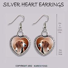 Beagle Dog - Heart Earrings Ornate Tibetan Silver